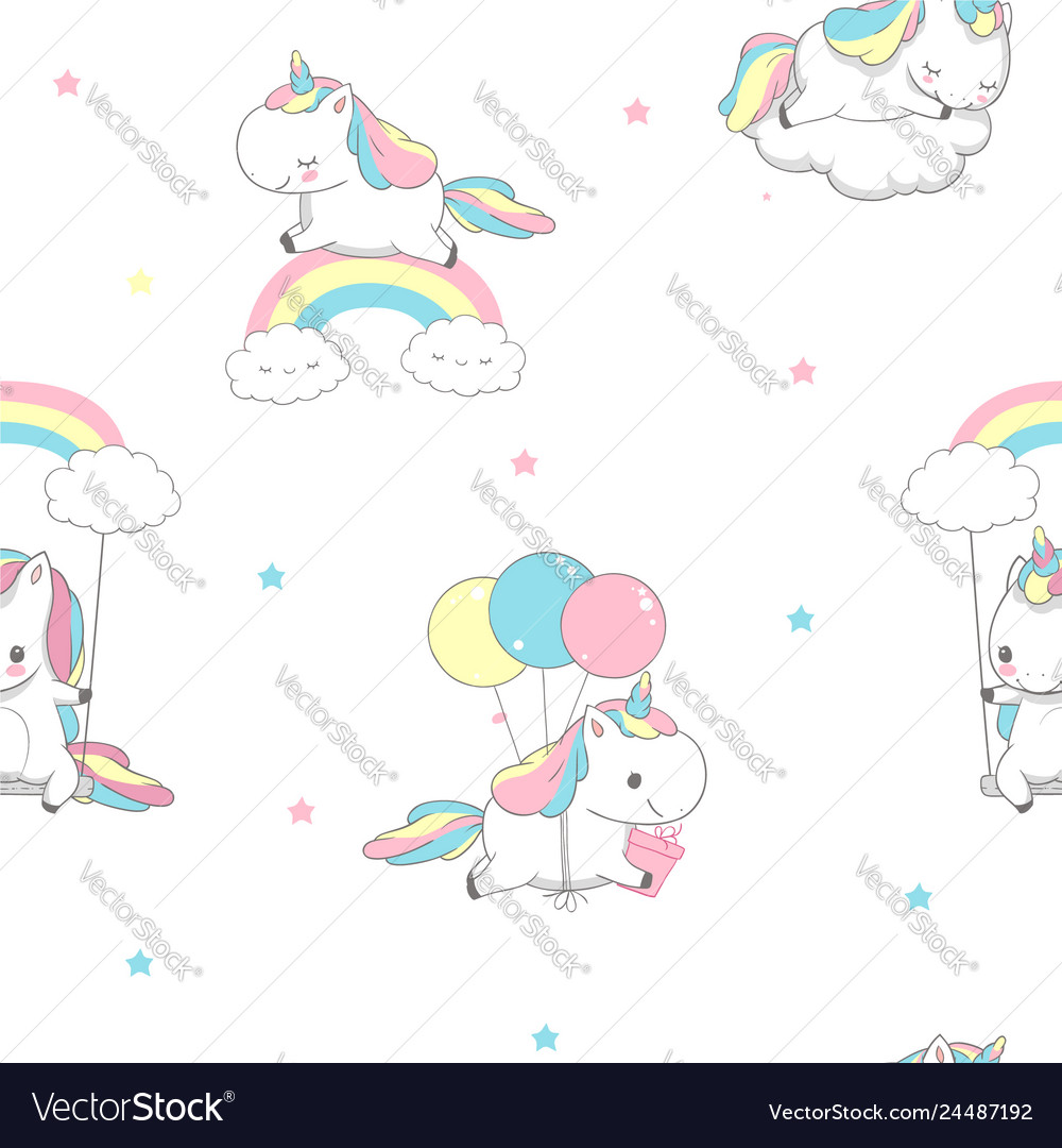 Unicorn over rainbow children seamless pattern for
