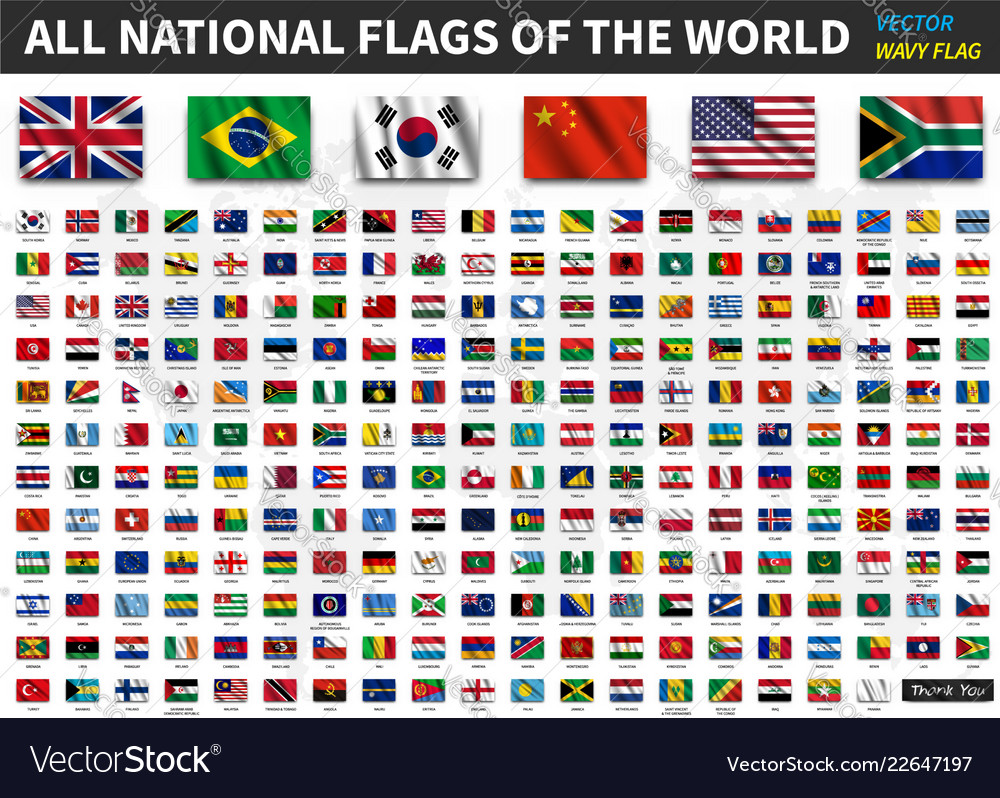 All national flags of the world realistic waving
