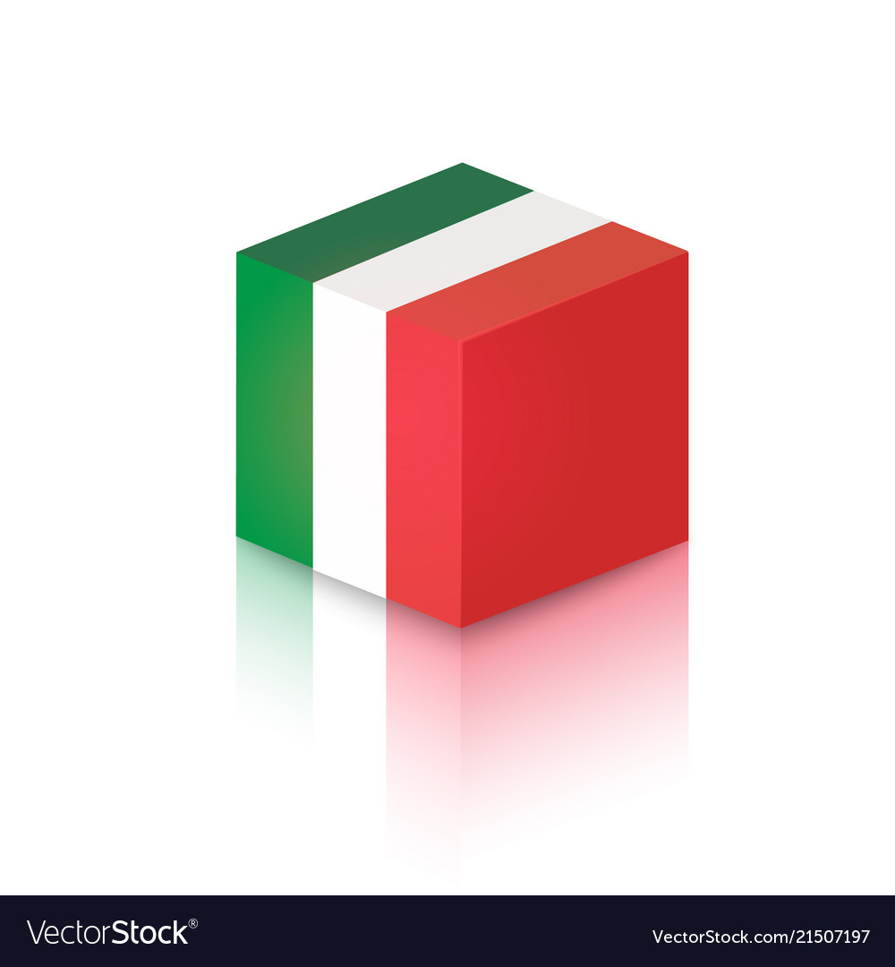Cube in colors of italian national flag