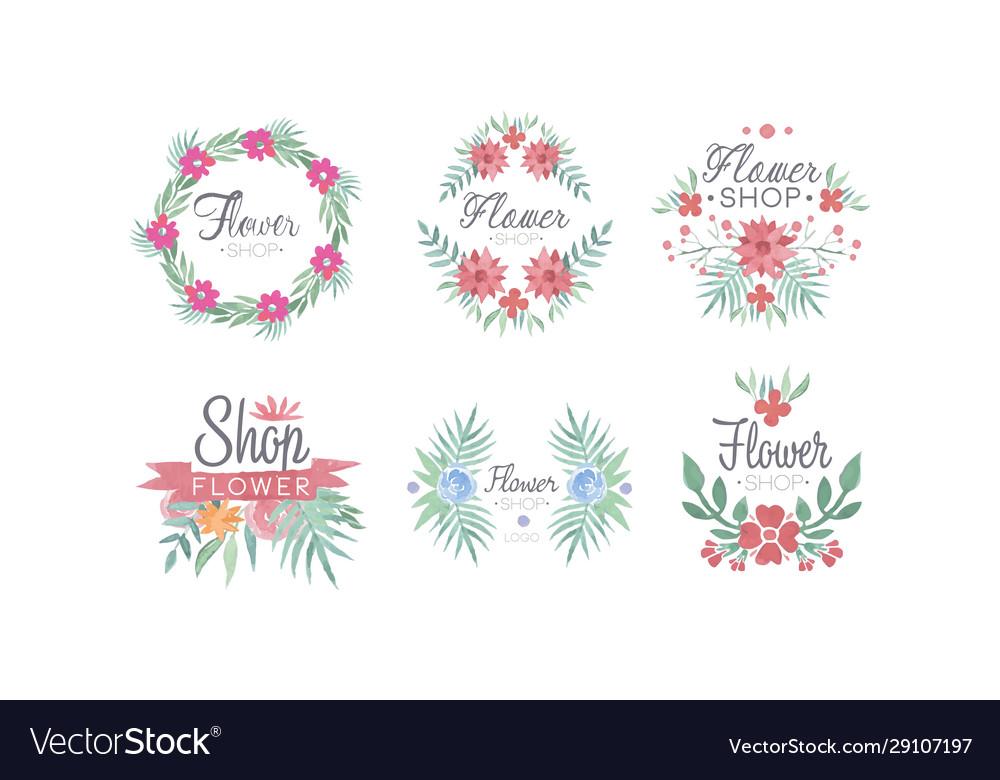 Flower shop logo templates set florist boutique