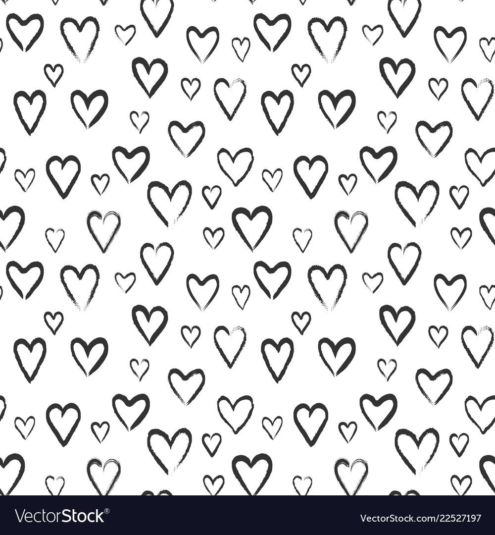 Hearts sketch seamless pattern