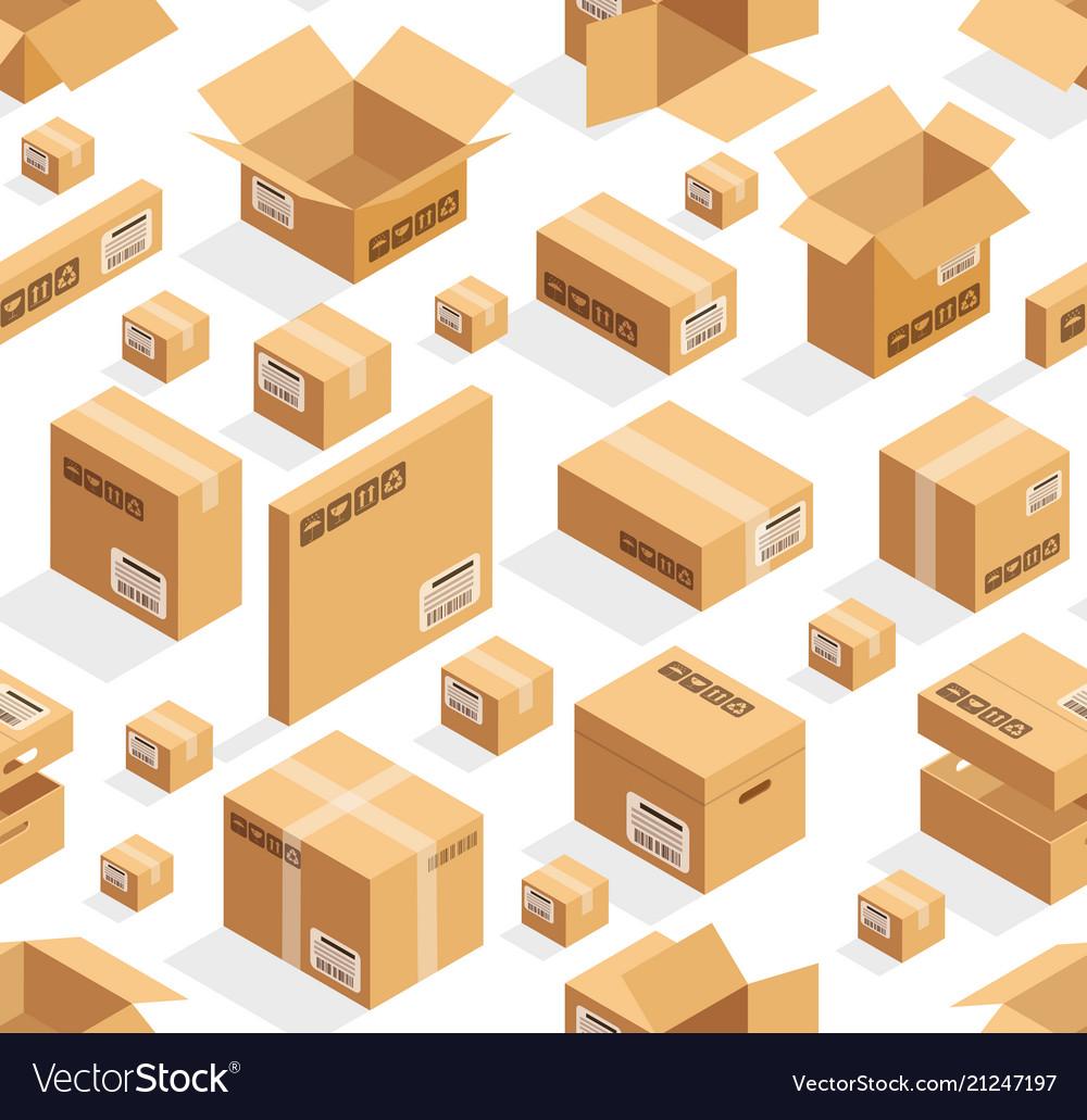 Isometric cardboard seamless pattern