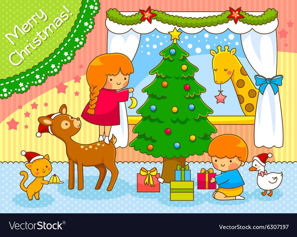 Kids and animals on Christmas
