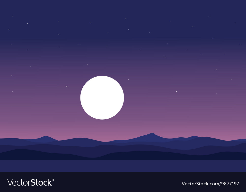 Landscape hill and full moon silhouette