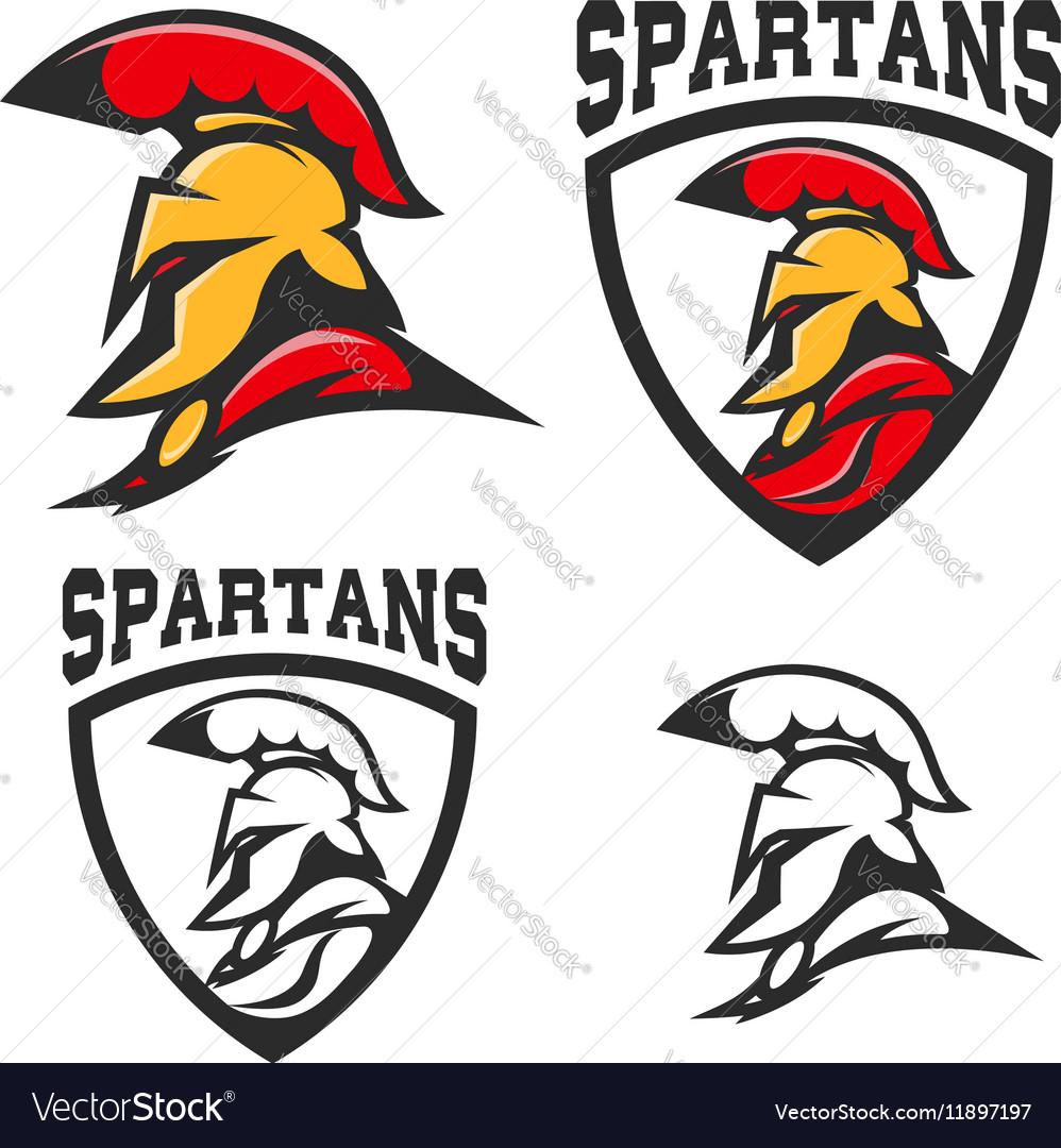 Set of emblems with Spartan helmet Design