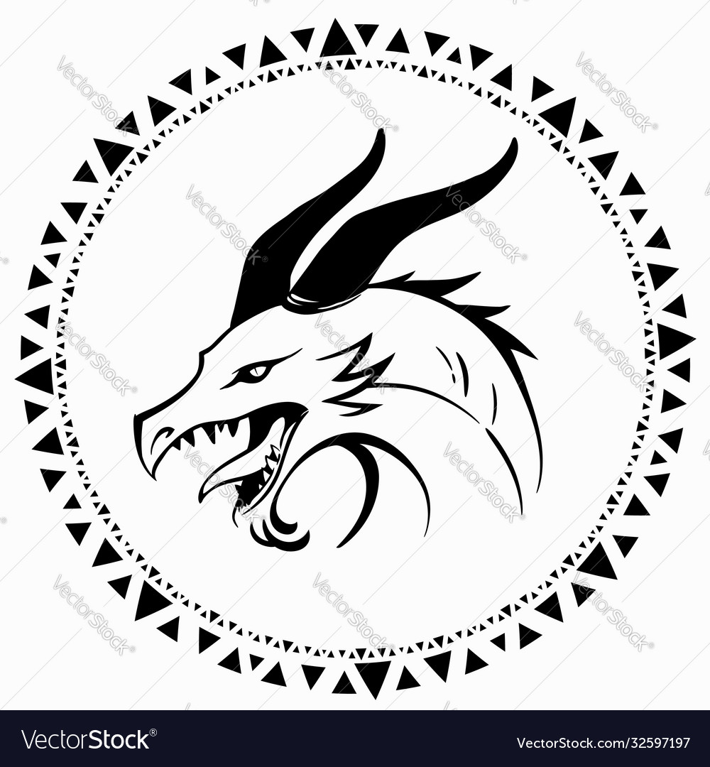 Simple drawing a dragons head made only