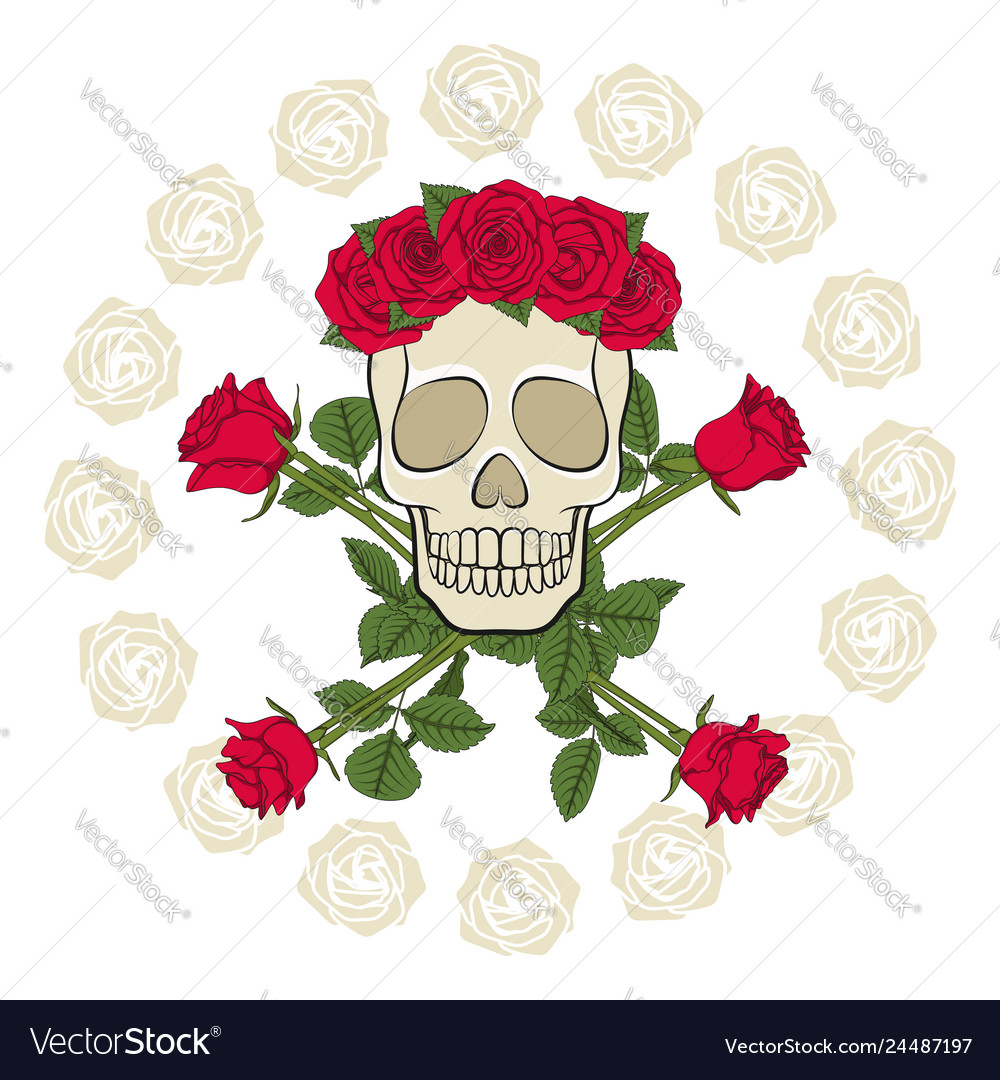 Skull in a wreath decorated with red roses