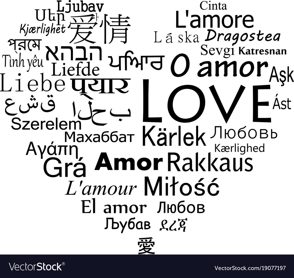 The word love for the most popular languages in