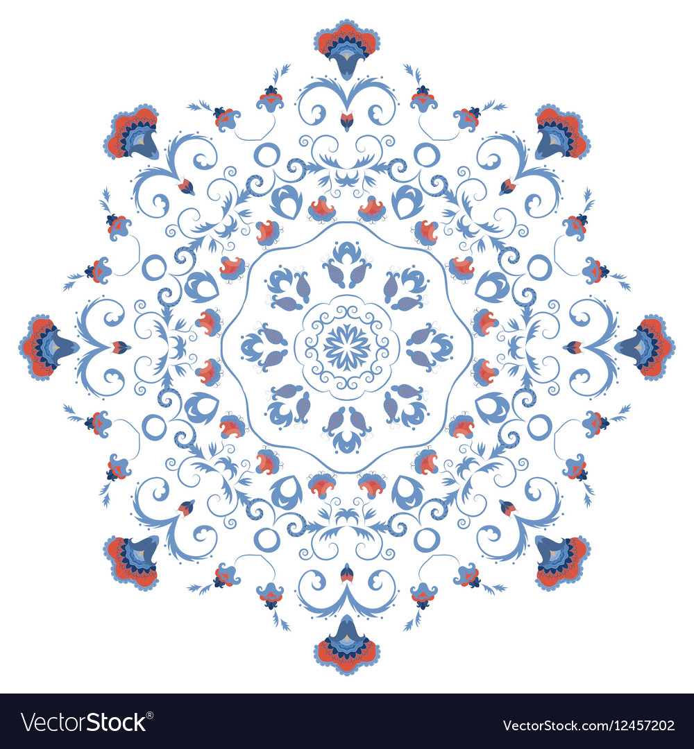 Abstract ornament mandala with styled flowers