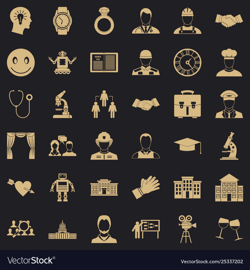 Business plan icons set simple style vector image