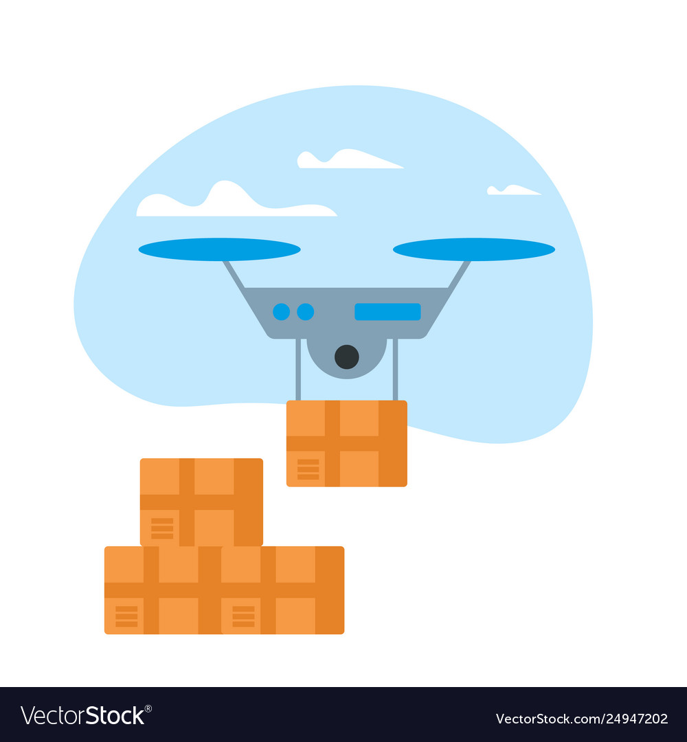 Drone delivery box in blue sky with clouds icon