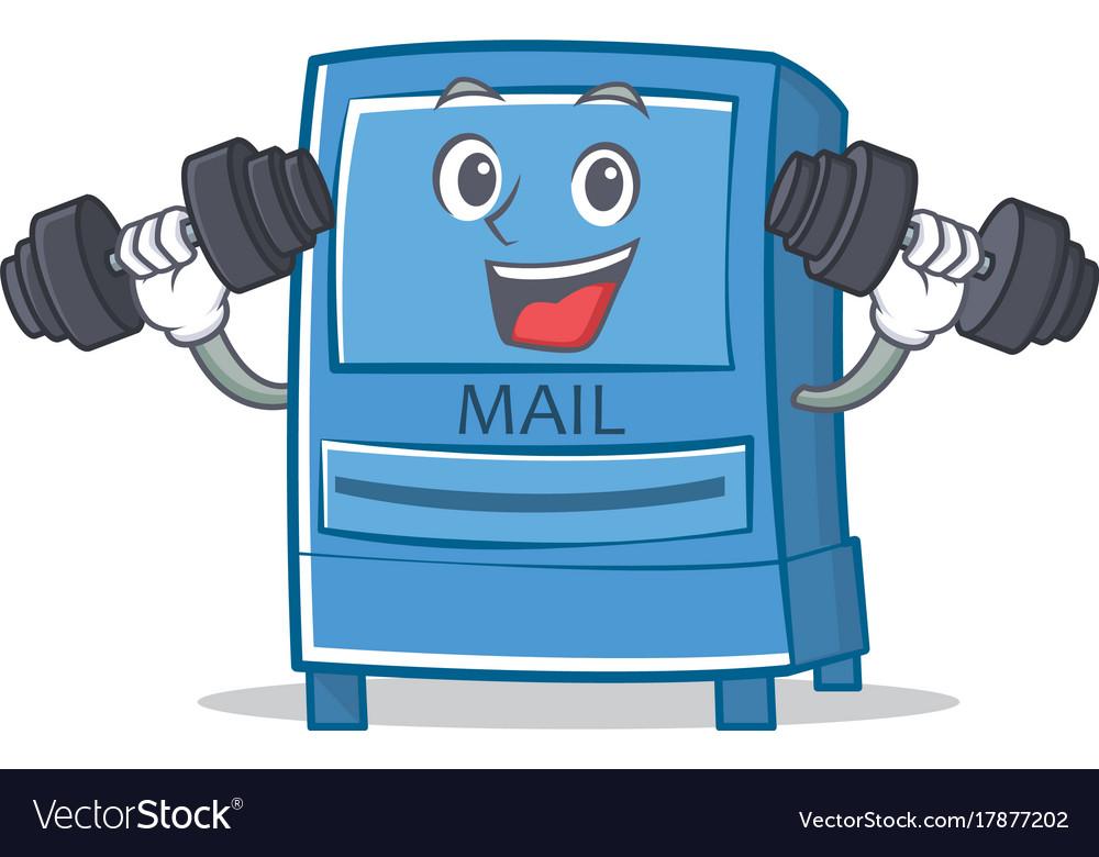 Fitness mailbox character cartoon style