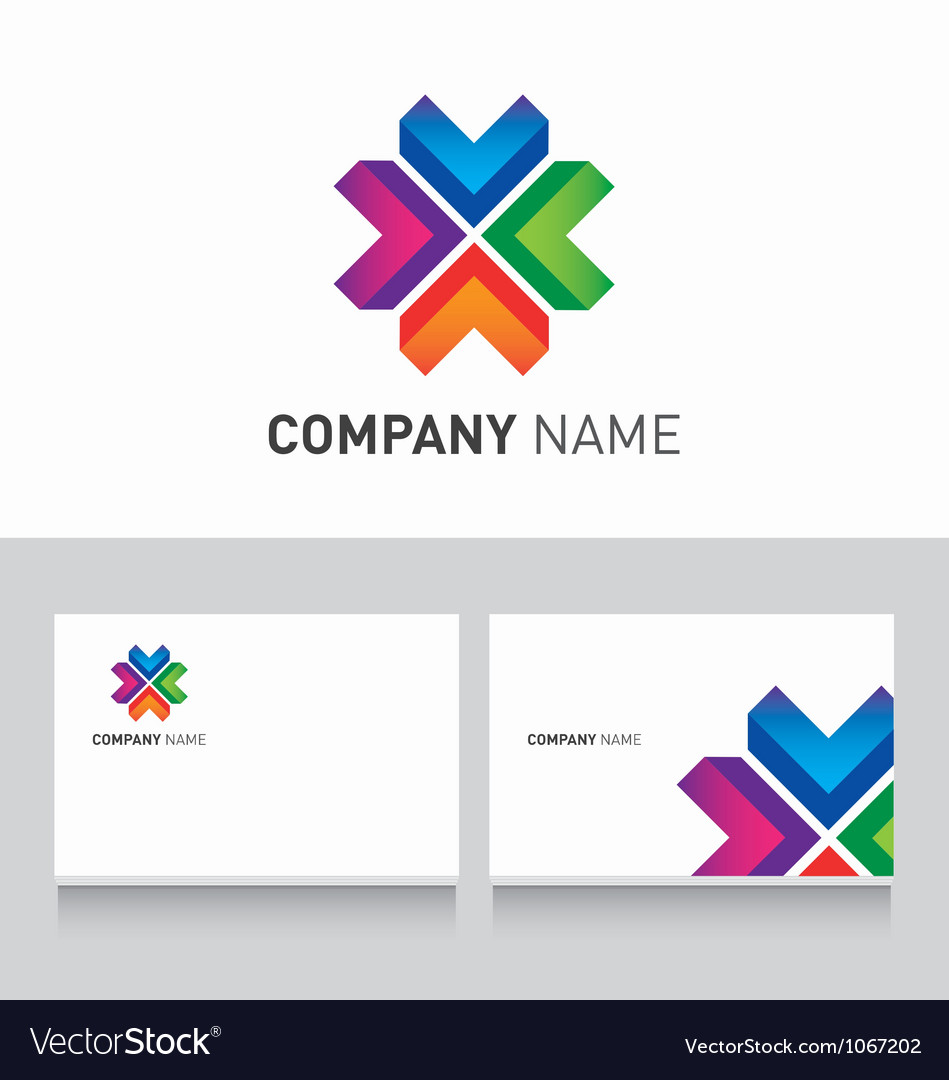 Logo colored and business card template royalty free vector logo colored and business card template vector image reheart Gallery