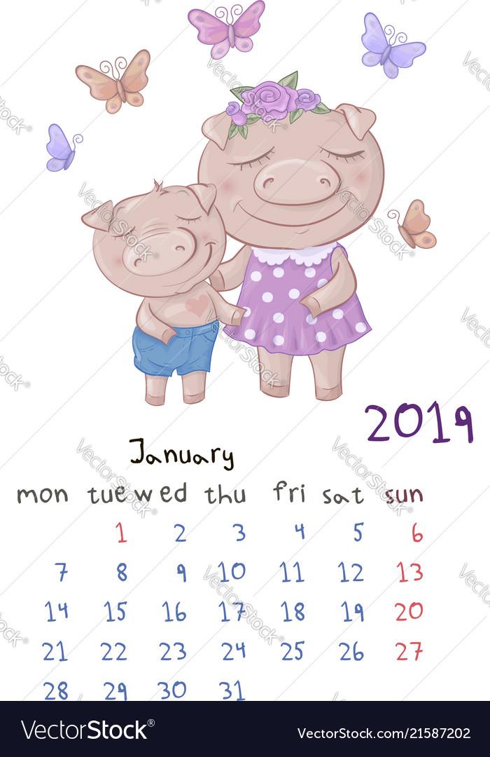 Monthly creative calendar 2019 with cute cartoon
