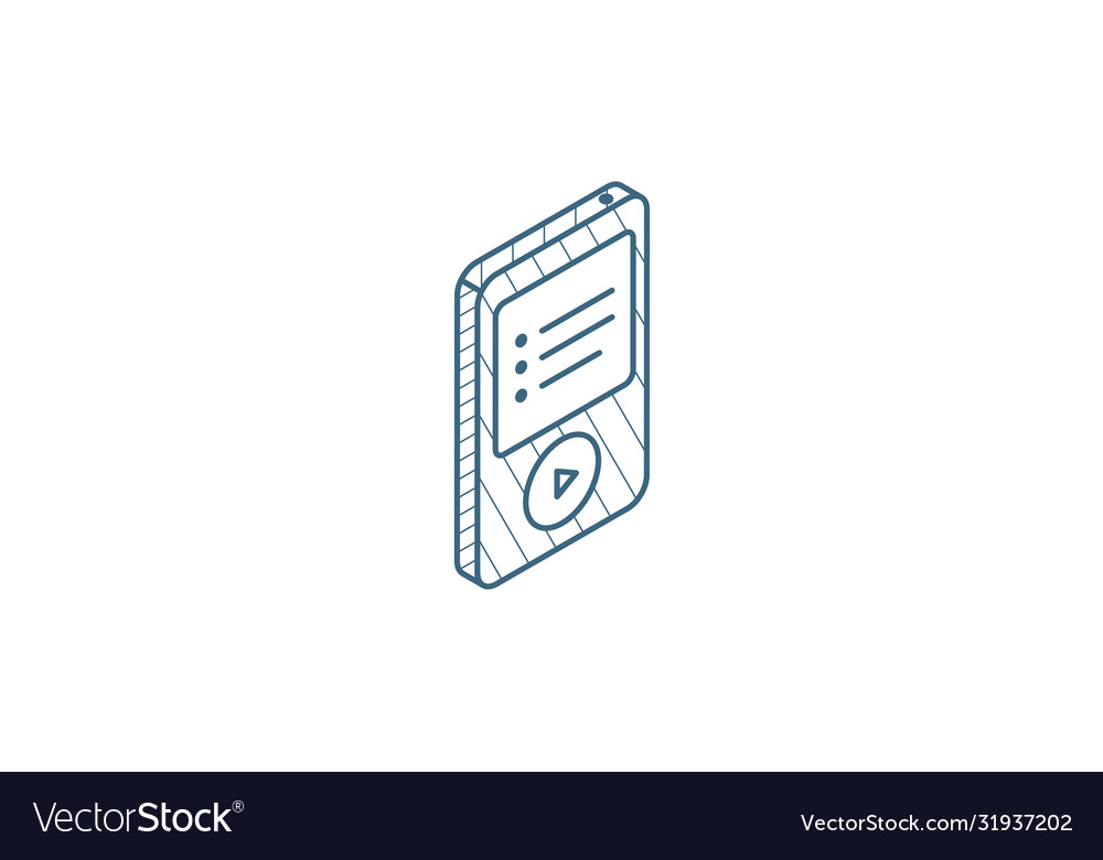 Mp3 music player isometric icon 3d line art