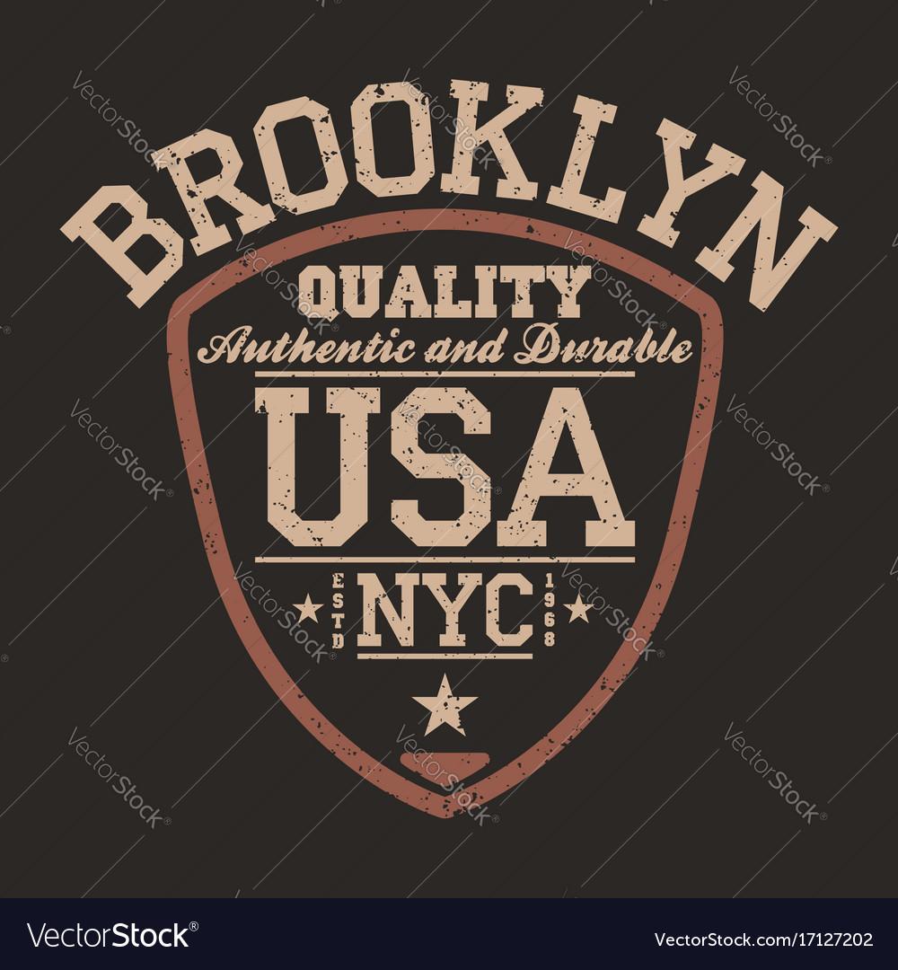 New york brooklyn usa sportswear emblem in shield