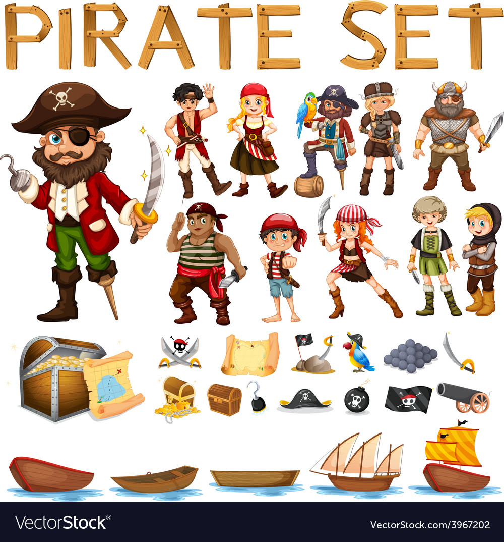 Pirate set vector image