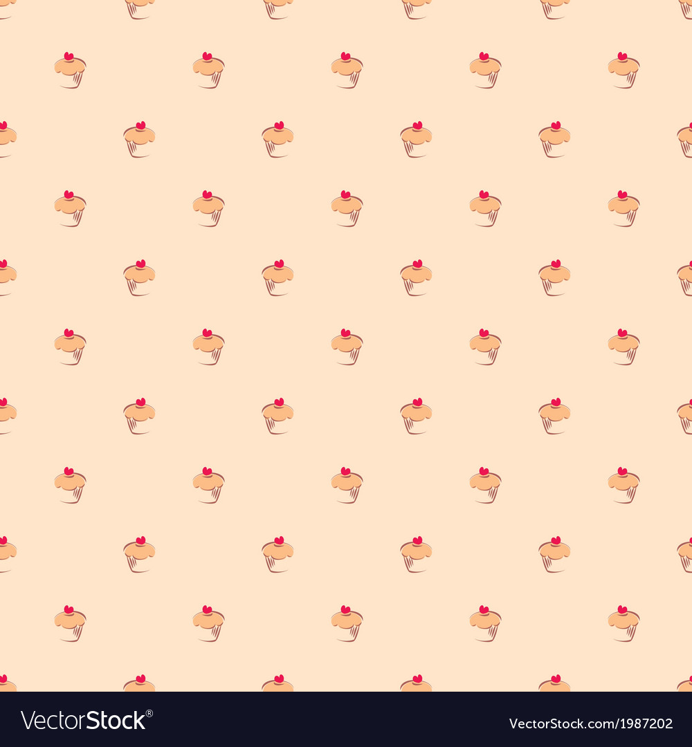 Seamless pattern or texture with little cupcakes
