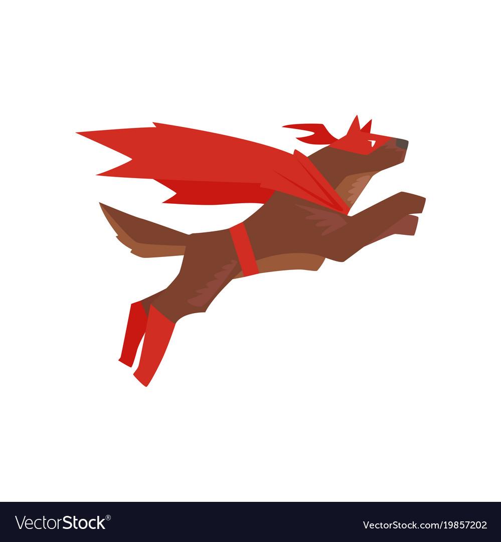Superhero dog character jumping super dog dressed