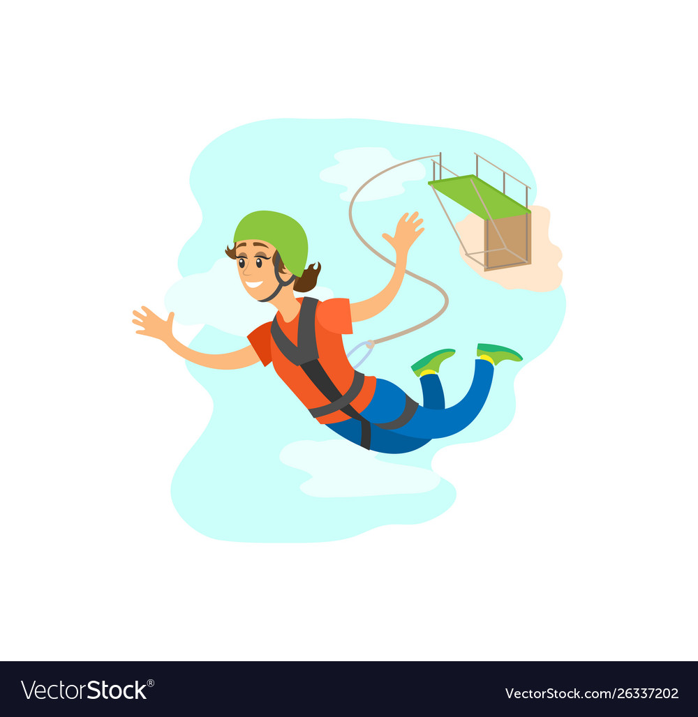 Woman falling from bridge bungee jumping
