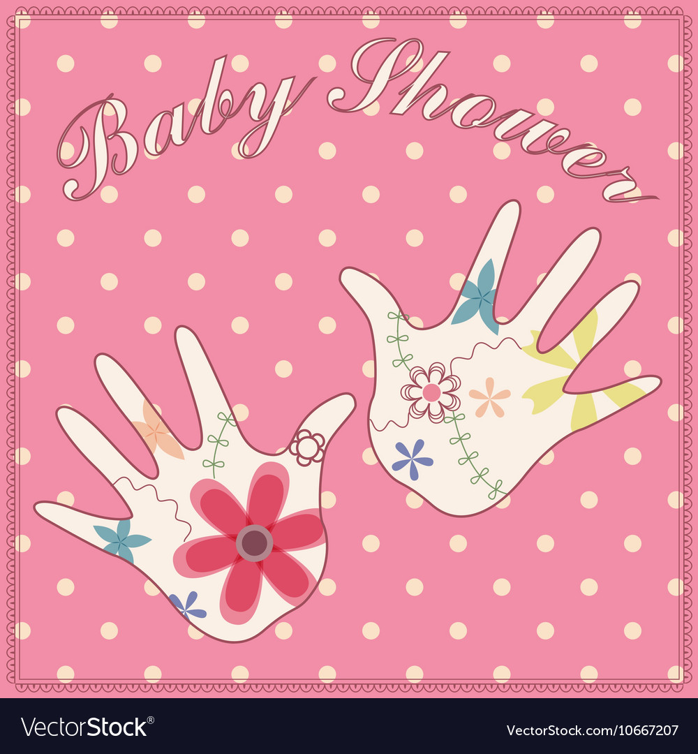 Background Baby Shower Girl Vintage Royalty Free Vector