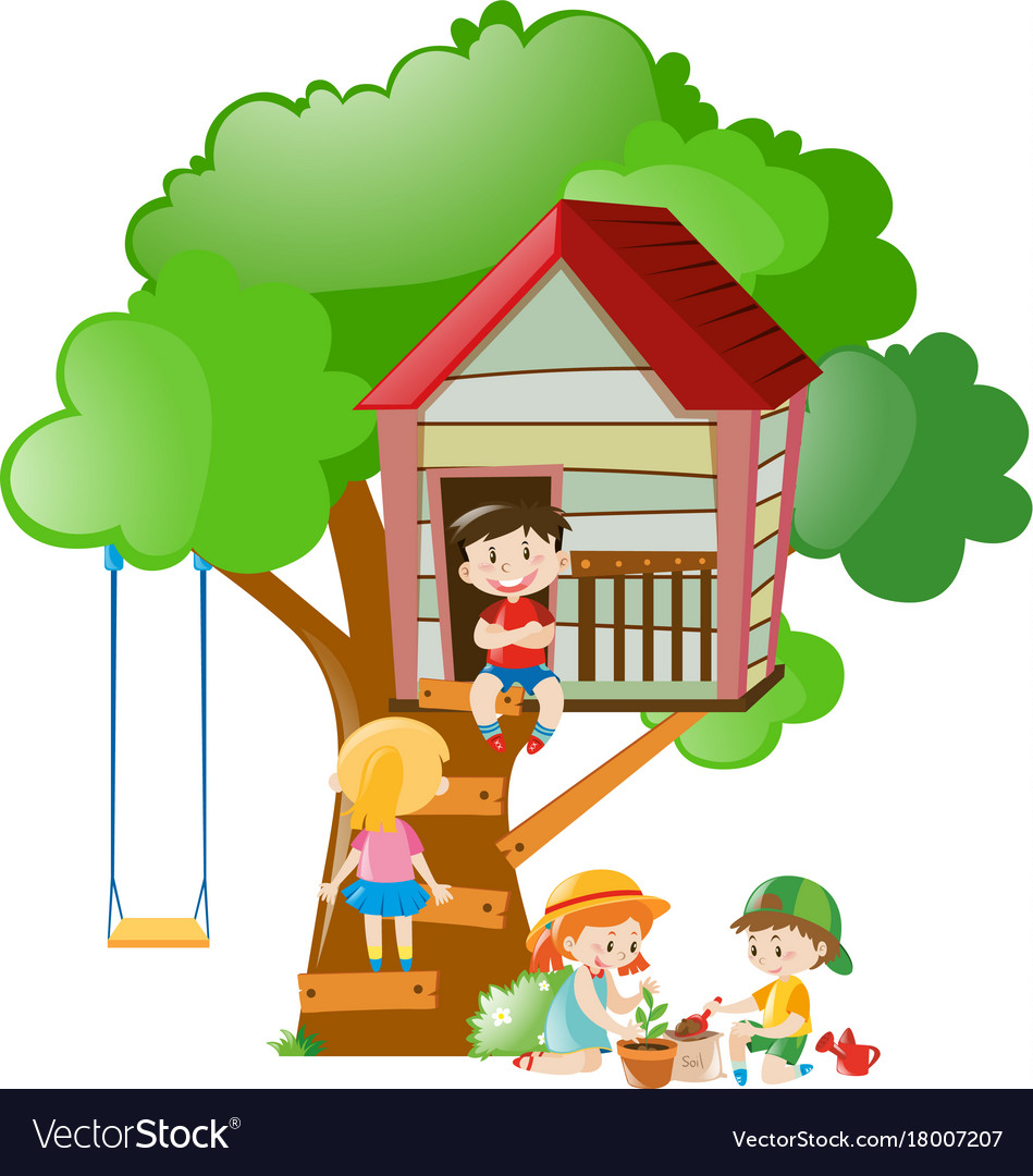 Picture of: Children Playing At The Treehouse In Garden Vector Image