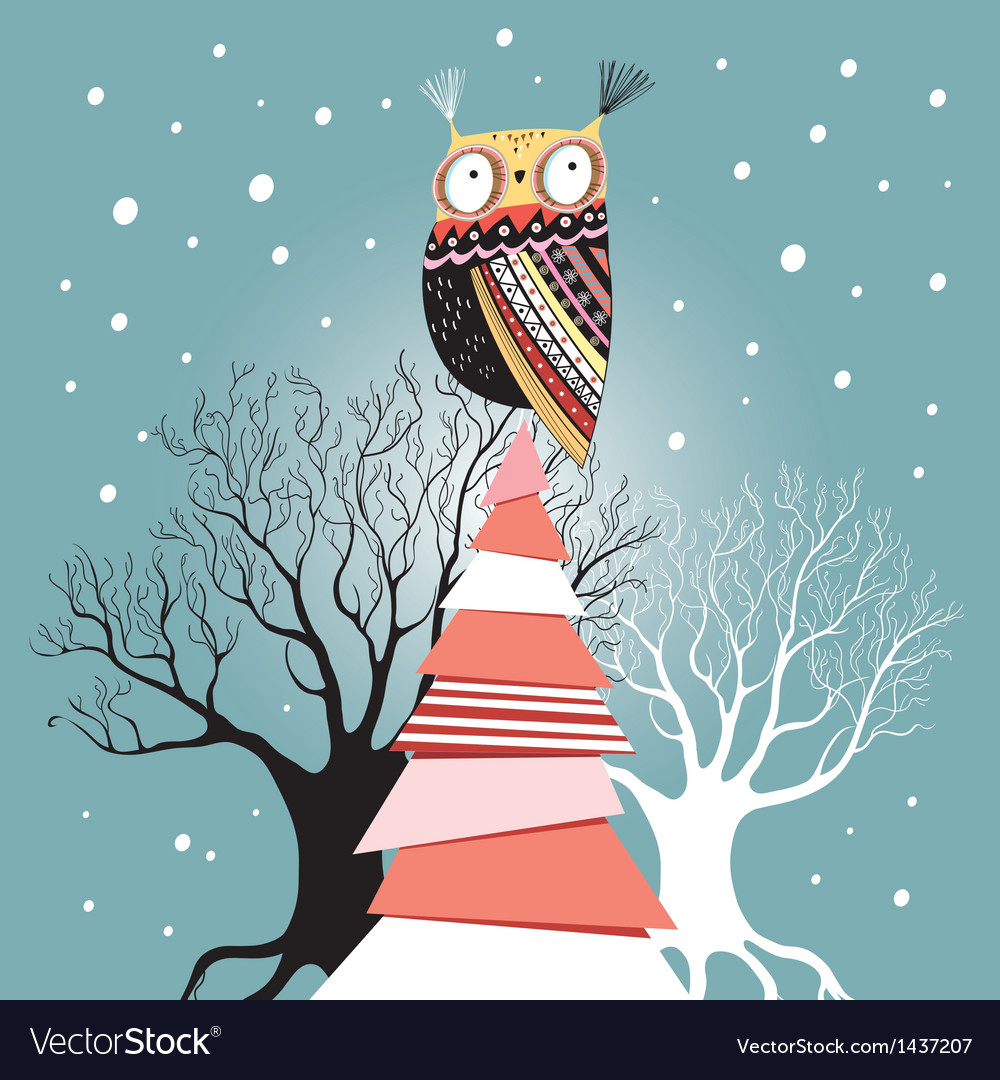 Christmas card with an owl on the tree