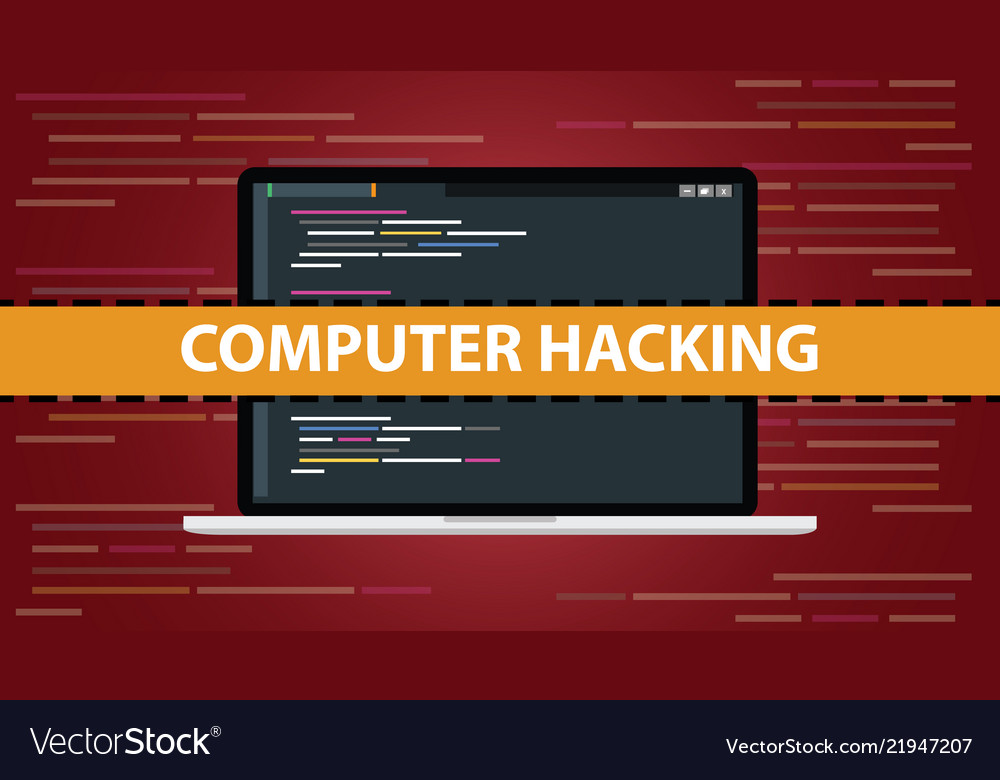 Computer hacking concept with code script