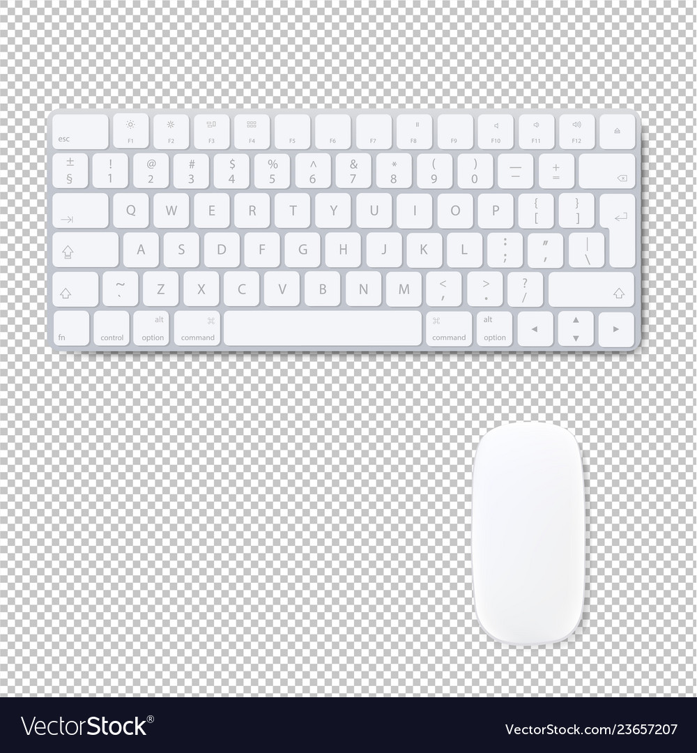 Computer Keyboard With Mouse Isolated Transparent Vector Image