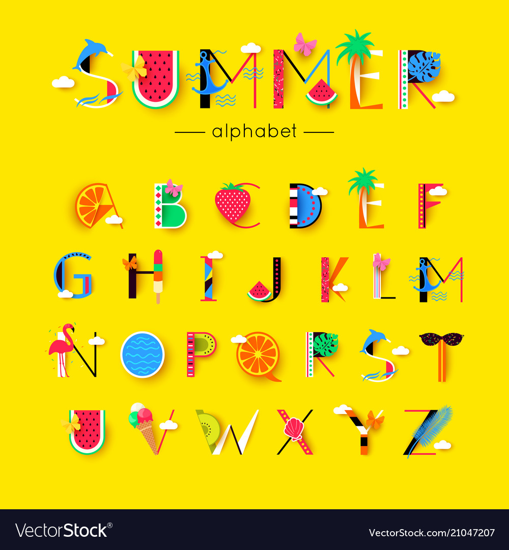 Creative summer font and alphabet vector image