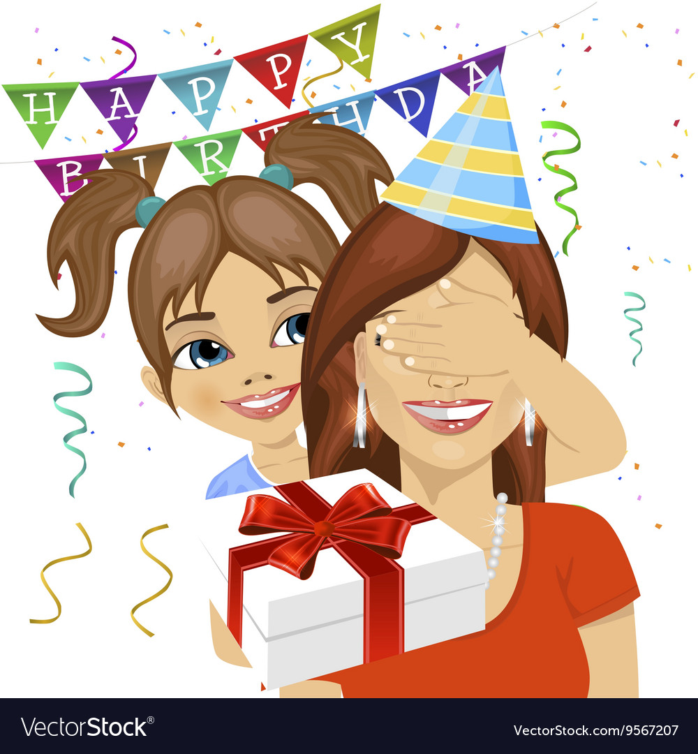 Daughter Giving Surprise Gift At Birthday Party Vector Image