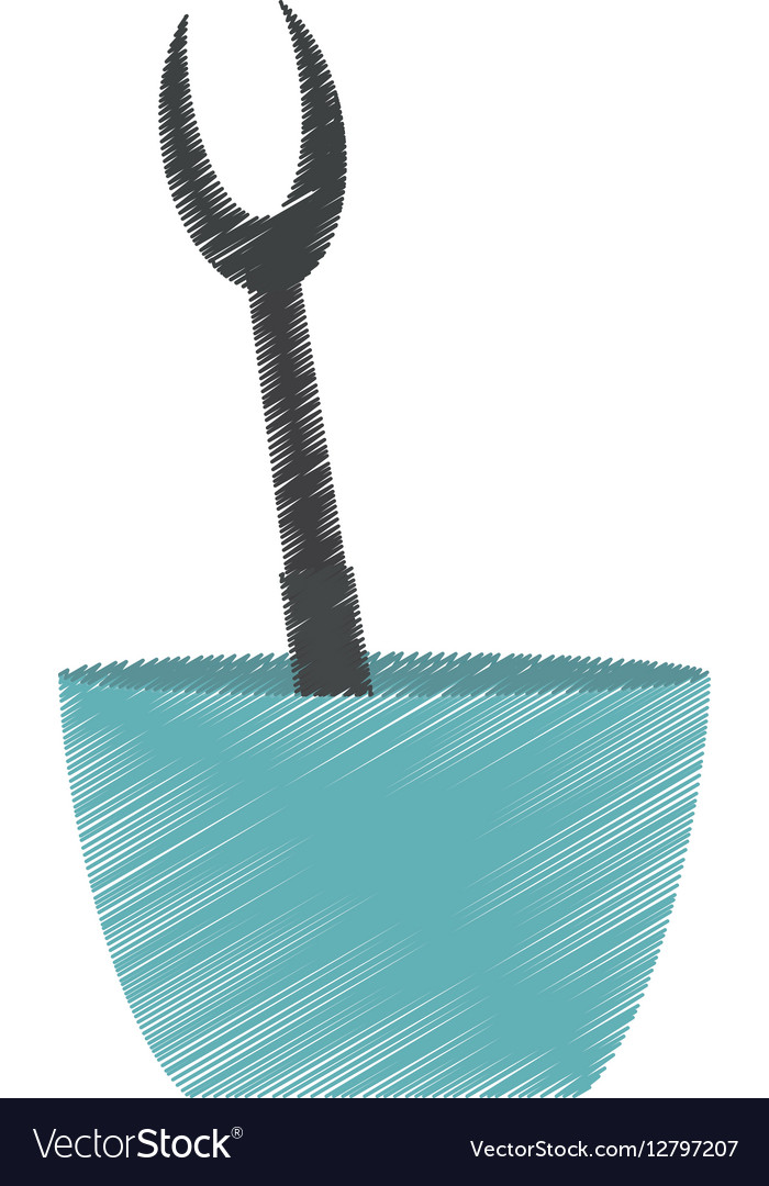 Drawing grilled fork bowl utensil kitchen