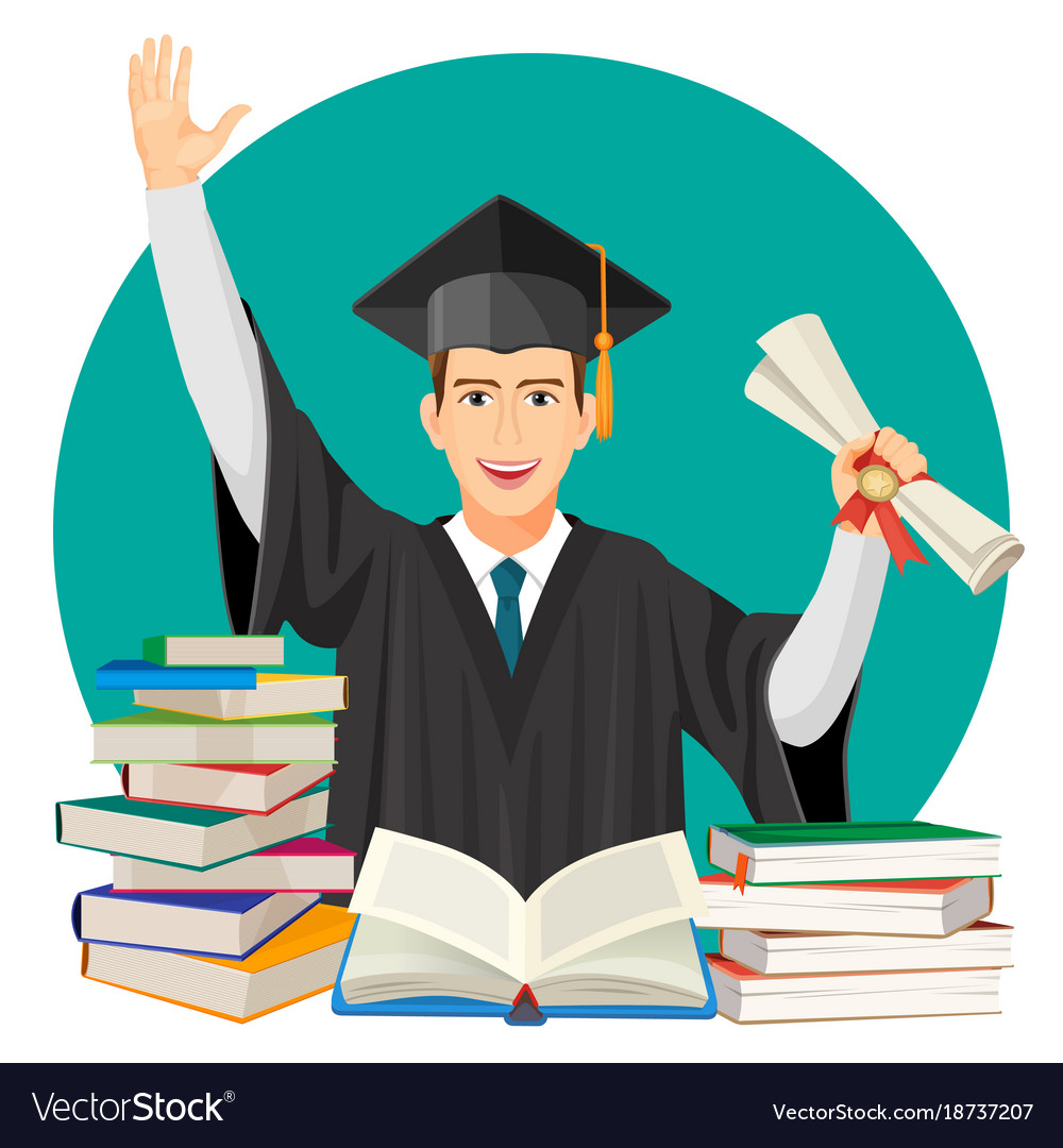 Highschool graduate with diploma in hands and