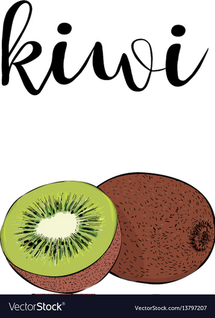 Kiwi fruit color with calligraphic inscription