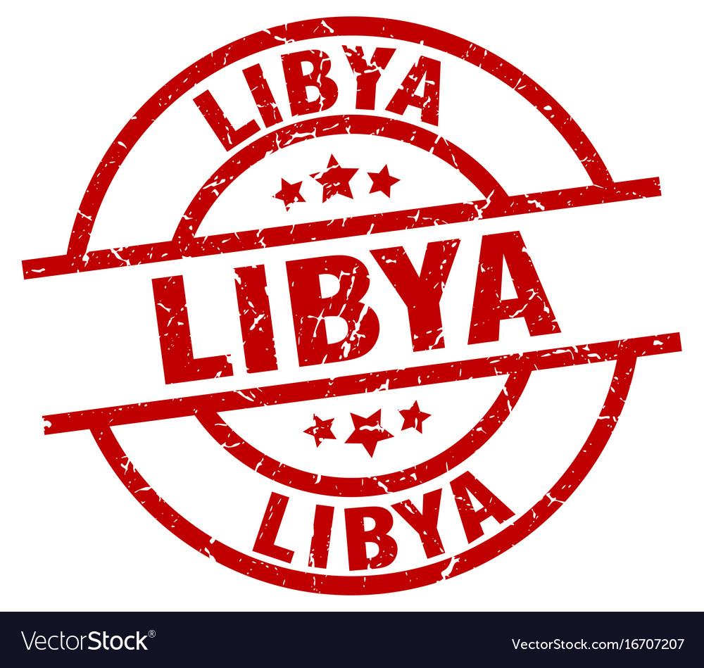 Libya red round grunge stamp