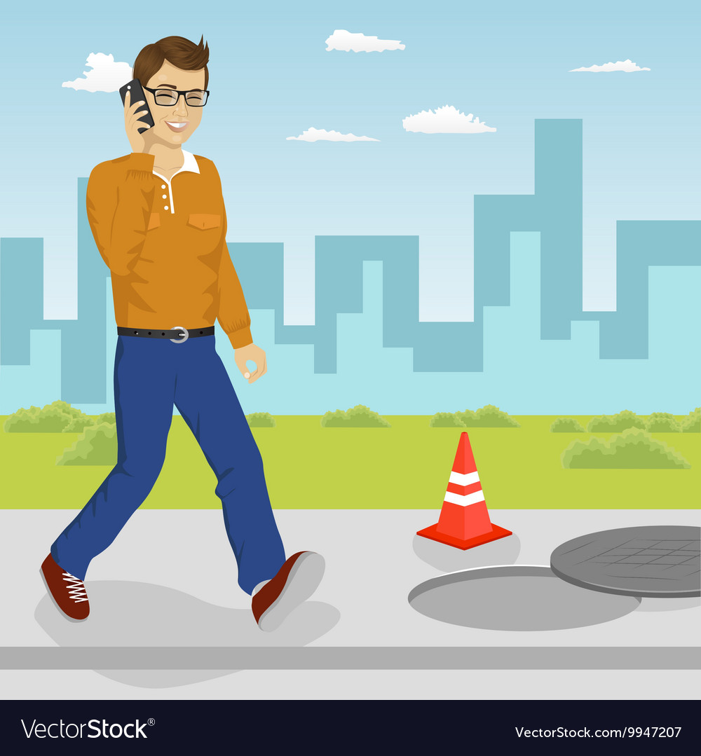Man walking into open manhole vector image