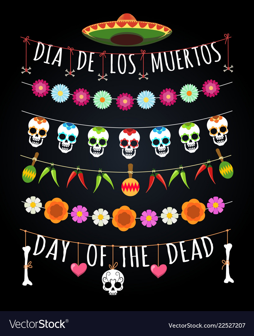 Mexican dead day garlands
