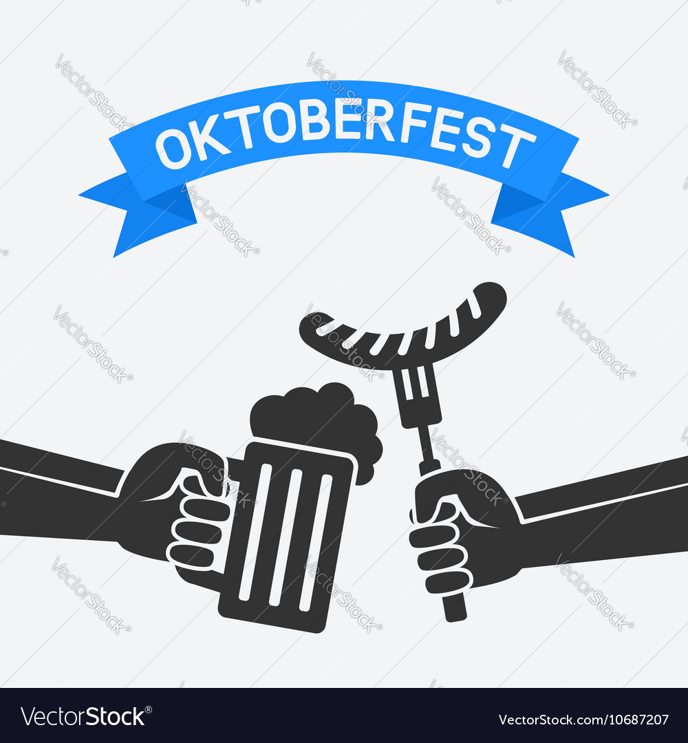 Oktoberfest concept Hand with beer mug and