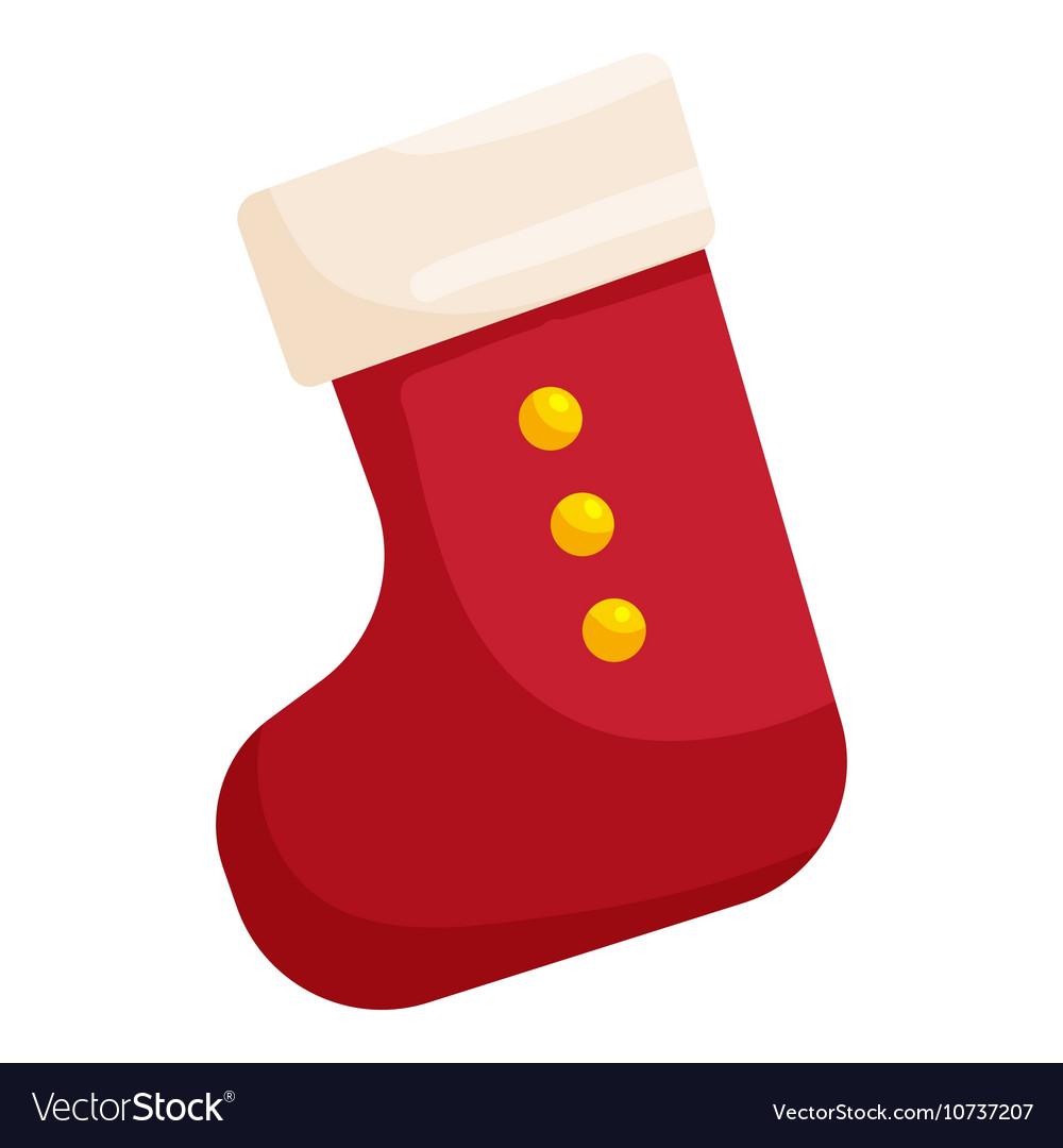 Christmas Stockings Cartoon.Red Christmas Sock Icon Cartoon Style