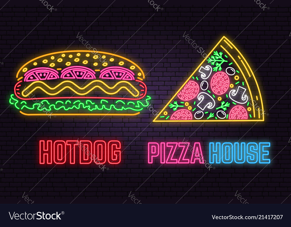 Retro neon hot dog and pizza sign on brick wall