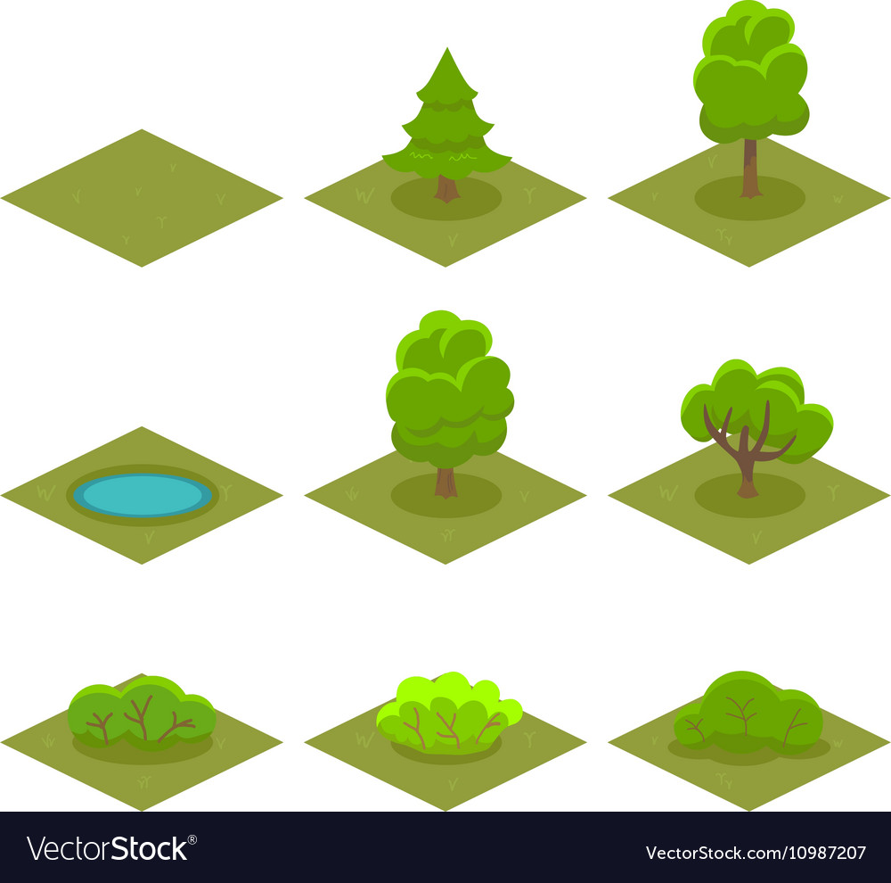 Set of Trees and Bushes Isometric Style for Game