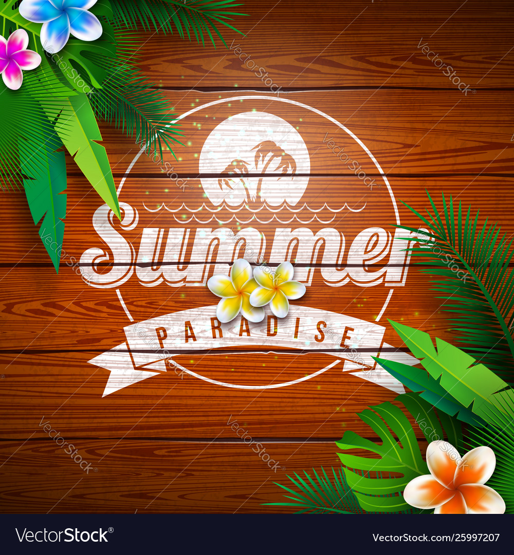 Summer paradise holiday design with flower and
