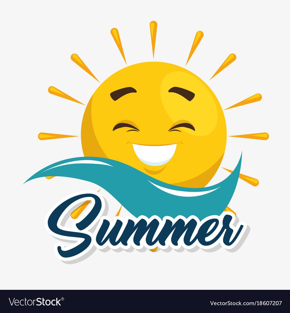 Summer sun face cartoon