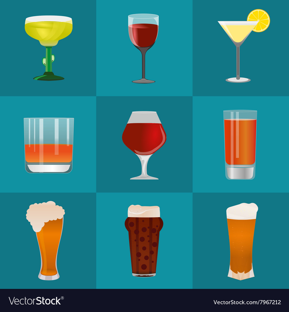 Alcohol and beer icons set