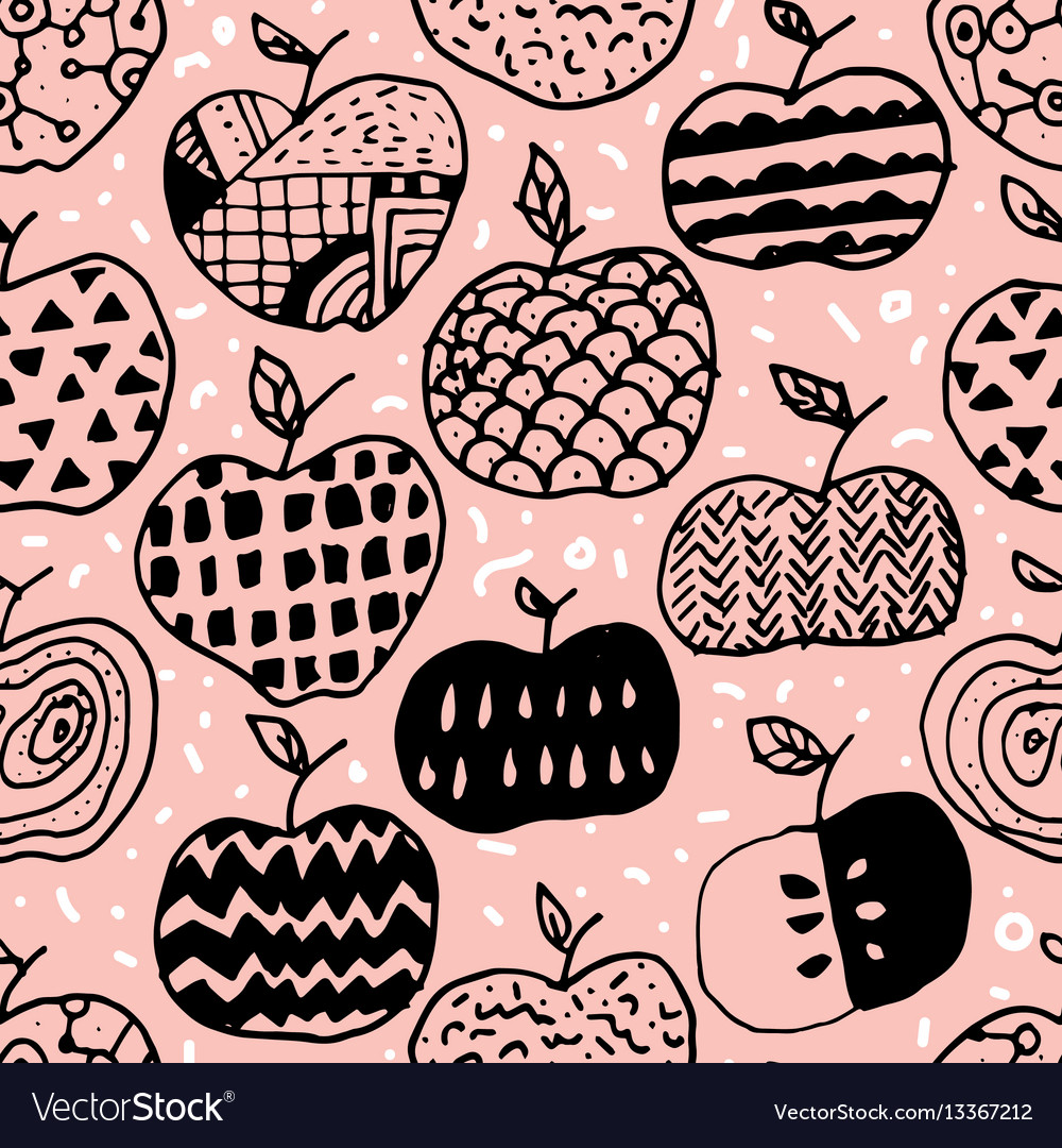 Apple doodle seamless pattern