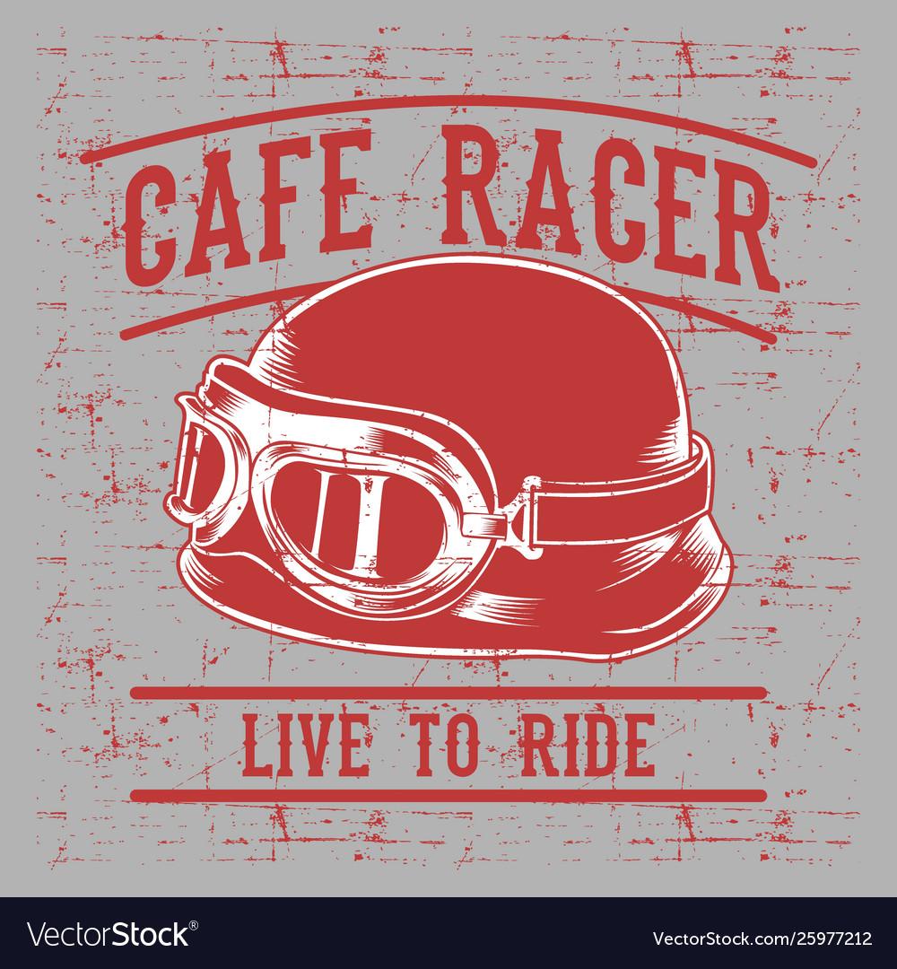 Cafe racer biker helmet with inscription live to