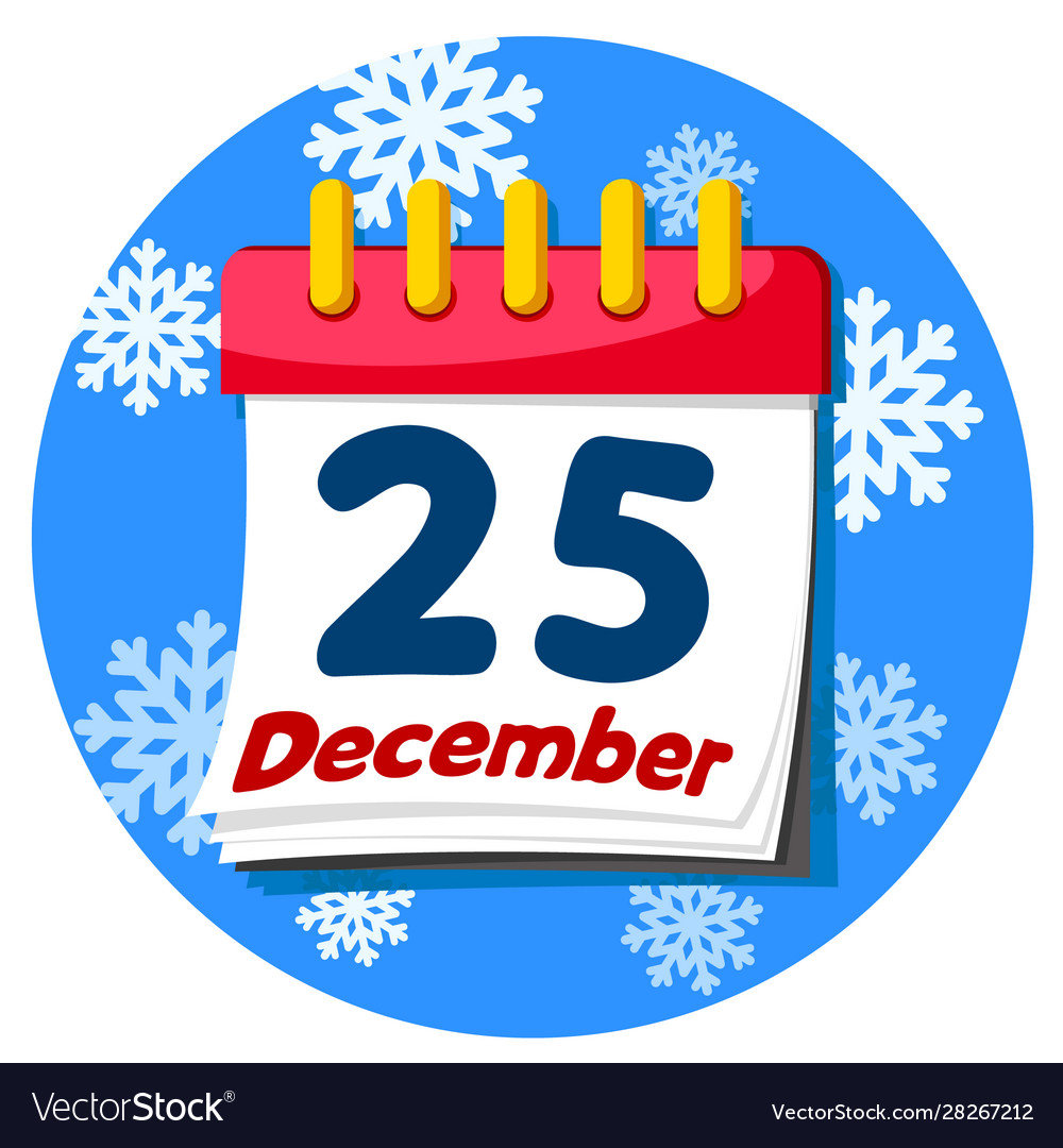 Calendar Book With Date December 25 On A Vector Image
