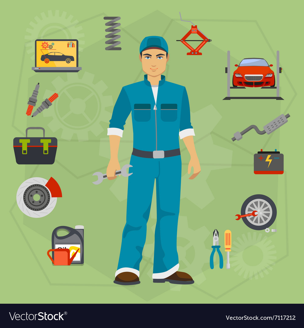 Car repair service concept with tuning diagnostics vector image