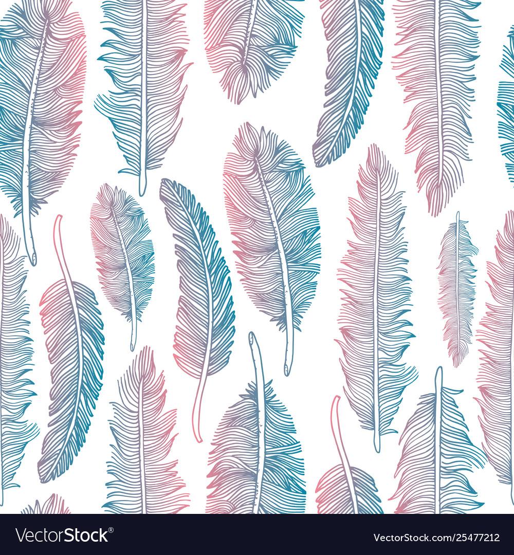 Feathers set set on white background