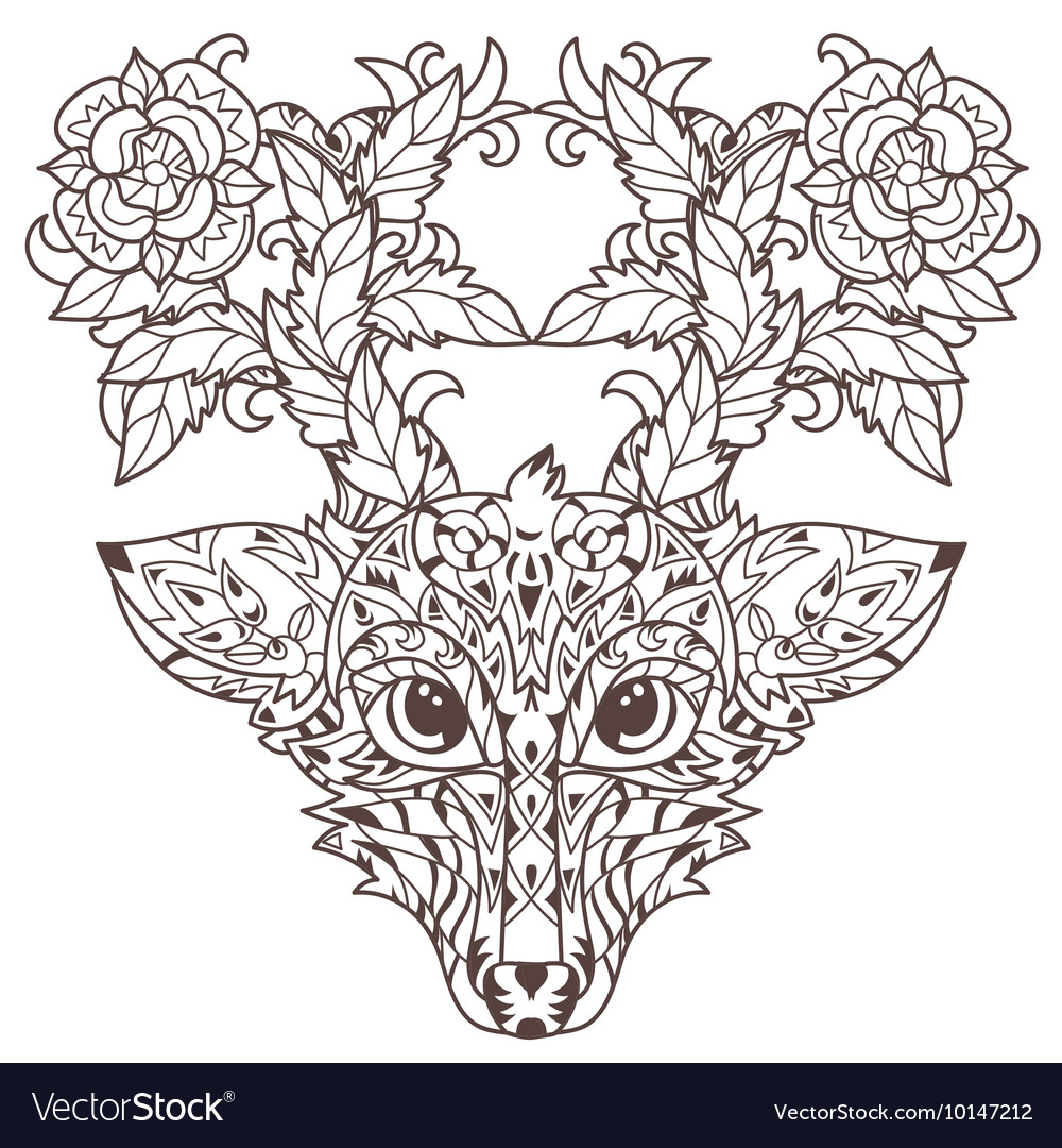 Hand drawn doodle outline deer head